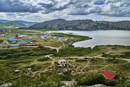 Beautiful landscape with stone rock mountains oraund of the Sibiny lakes (RU: Sibinskiye Ozora: Sadyrkol, Tortkara, Shalkar, Korzhynkol), neer the city of Oskemen (RU: Ust-Kamenogorsk) East Kazakhstan
