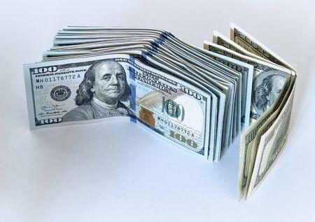 Stack of one hundred dollar bills new design on a white background Zdjęcie Seryjne - 125166186