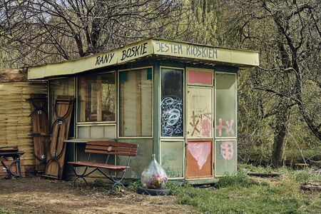 Old Kiosk with the inscription in Polish: