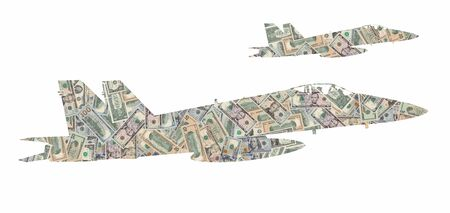 Silhouette of a pair of military aircraft formed with american dollars bills isolated on white background