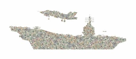 Silhouette of an aircraft carrier with a fighter formed with american dollars bills isolated on white background
