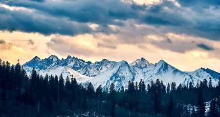 Beautiful panoramic aerial drone view to the Tatra Mountains (Tatras, Tatra) - mountain range between Slovakia and Poland - They are the highest mountain range in the Carpathian Mountains, PL