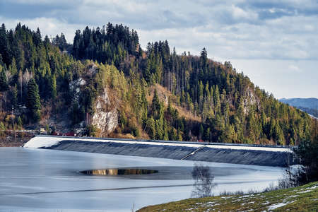 Beautiful panoramic view to the dam on Czorsztyn Lake around the Dunajec Castle, near Niedzica Castle Stock fotó