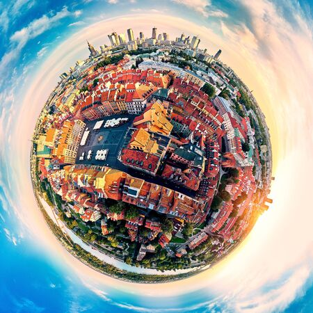Beautiful panoramic aerial drone view (360 spherical panorama little planet)) on Warsaw Old town (POL: (Stare Miasto), square and the Column of Sigismund III Vasa at sunset, Poland. Zdjęcie Seryjne
