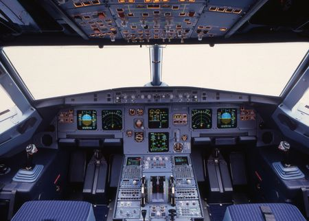 airplane cockpit of a modern passenger jet