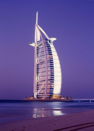 luxury hotel at the beach, near Dubai.Night exposure Editorial