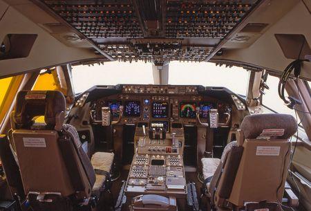 cockpit of a Boeing B747, jumbo jet.