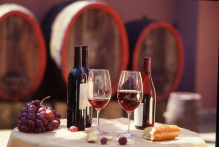 Red wine barrel with still.Wine tasting. Stock Photo - 3580840