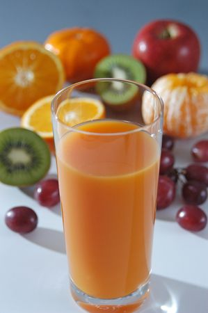 Glass of fresh squeezed fruit juice