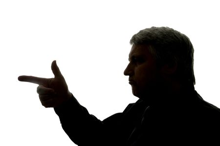 Silhouette of a man, symbolizing a criminal with a weapon. Stock Photo - 3583500
