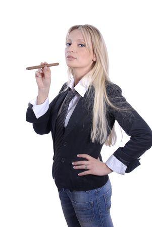 cigar smoking woman: Young business woman is smoking a cigar