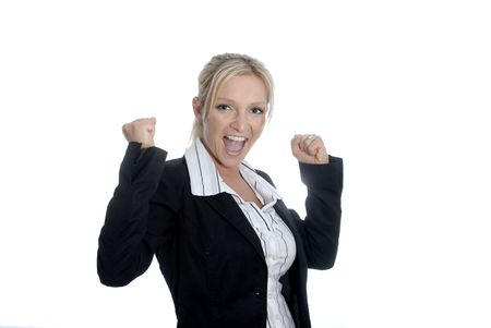 Young business woman with her arms raised due to joy. Symbol for success.