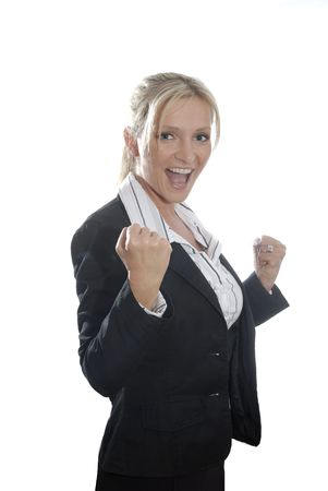hurray: Young business woman with her arms raised due to joy. Symbol for success.