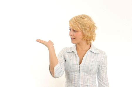 young woman gesturing, holding one hand open.Isolated over white. Stock Photo