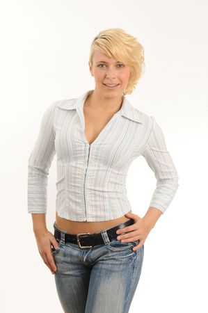 Portrait of a young woman.Wearing a blouse and jeans.