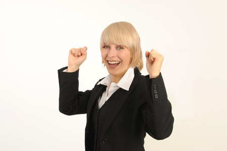 Portrait of a confident business woman. Isolated over white. Stock Photo