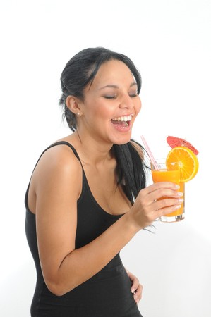 longdrink: Young woman holding a long drink