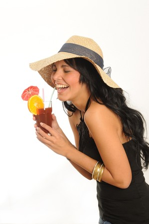 young woman with drink Stock Photo
