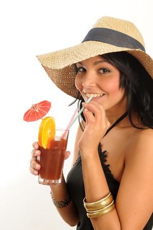 young woman enjoying a fruit juice.