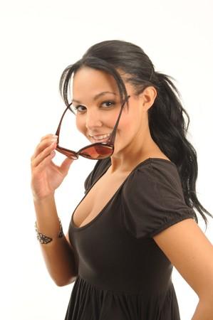 young hispanic woman wearing sunglasses. Stock Photo