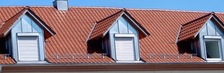 A red tile roof with dormers Stock Photo