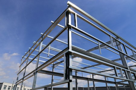 steel girder: Steel construction of a new factory building
