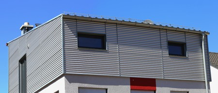 flat roof: Flat roof on a new Bauhaus style home