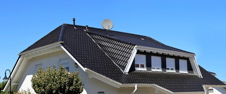 Dark tile roof with dormer and four skylights