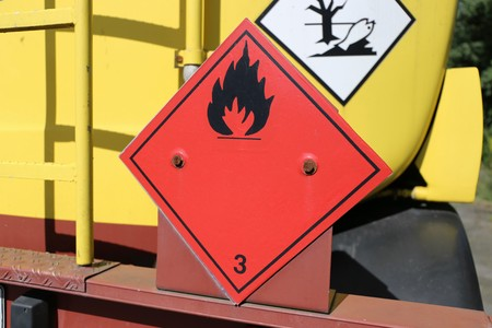 Hazardous goods plate on a truck Stock Photo