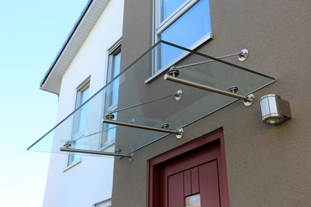 Glass canopy front door