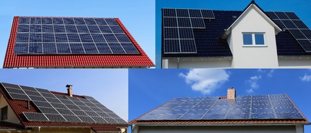 Collage of roofs with solar panels