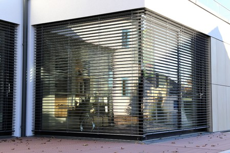 Window with shutter, exterior shot Banco de Imagens