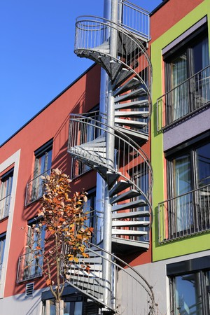 emergency stair: Galvanized emergency staircase on a modern building Stock Photo