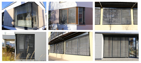 sun screen: Windows with blinds, exterior shot (Collage) Stock Photo