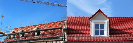 pitched: Roof with dormers during construction and after finishing (Collage)