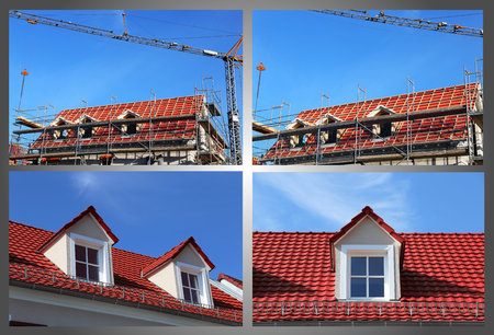 Roof with dormers during construction and after finishing (Collage)
