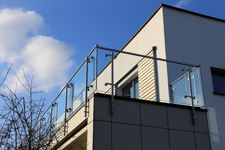 Stainless Steel balcony railing Archivio Fotografico