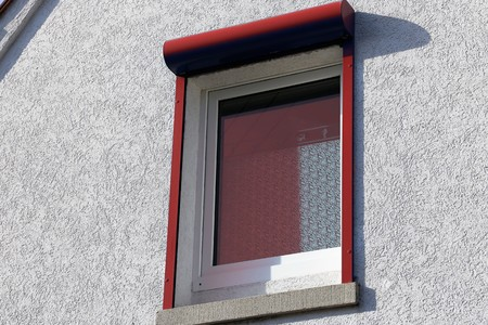 satined: Window with roller shutter porch, exterior shot