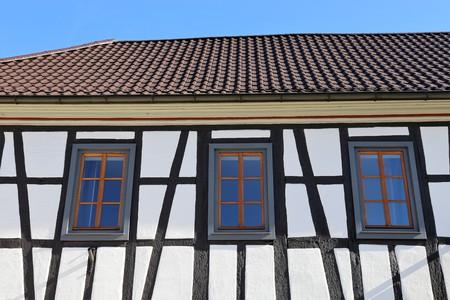 Restored half-timbered facade, close up