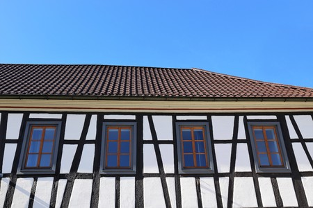 Restored half-timbered facade, close up