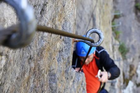 Fixed-rope route (via ferrata) Stock Photo