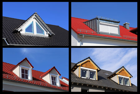 Collage of dormers on tiled roofs
