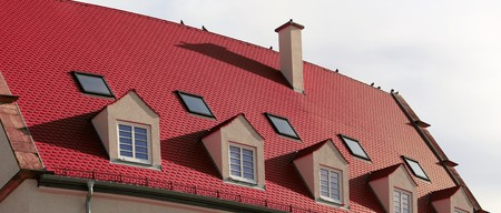 Dormers on a new tiled roof Stock Photo