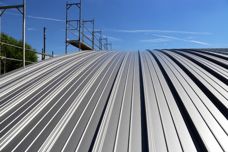 Industry standing seam roof Foto de archivo