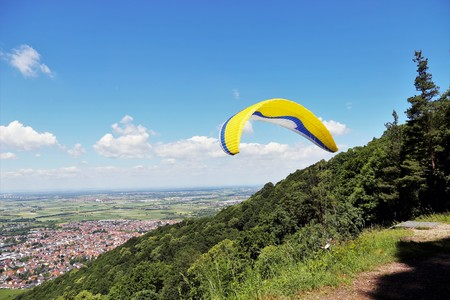 Paraglider flying near Heidelberg