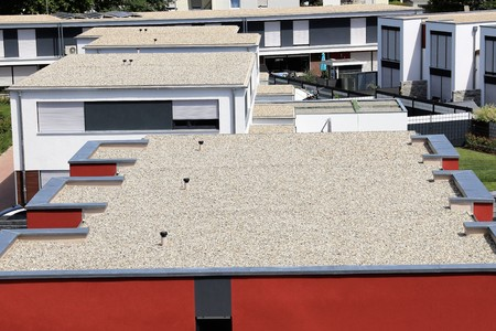 Flat roof with gravel Archivio Fotografico