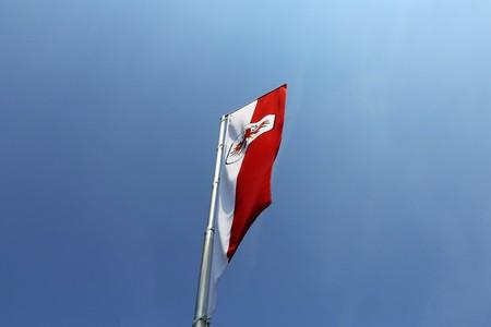 Sterreichische Fahne im Wind mit klarem Himmel im Hintergrund winken Standard-Bild - 82164333