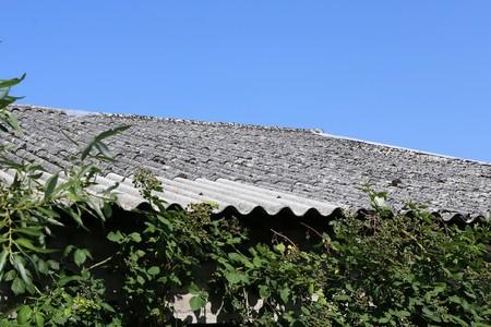 アスベストの屋根の古い建物