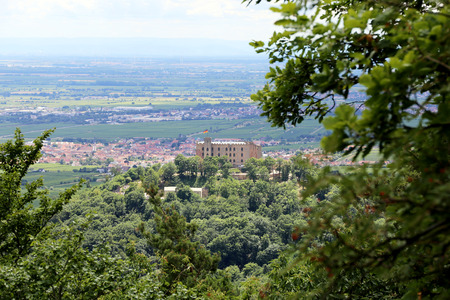 View to Neustadt an der Weinstrasse and the Hambach Castle, Rhineland-Palatinate, Germany