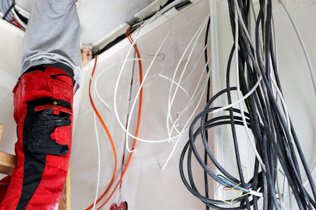 Electrical installation on a building shell (Electrician) Stockfoto